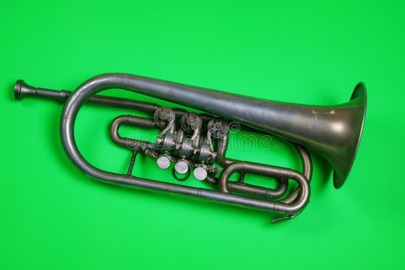 Trompeta de plata vieja fotos de archivo libres de regalías