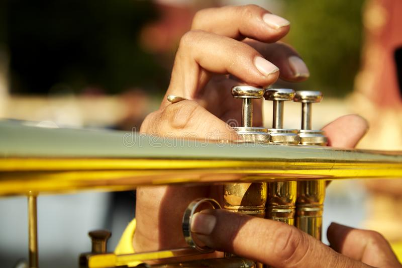 trompeta del vintage en apacible imagen de archivo libre de regalías