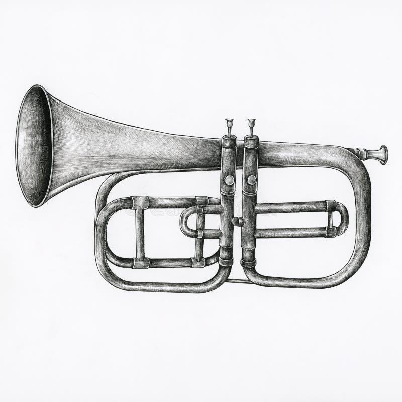 Trompeta dibujada mano aislada en fondo stock de ilustración