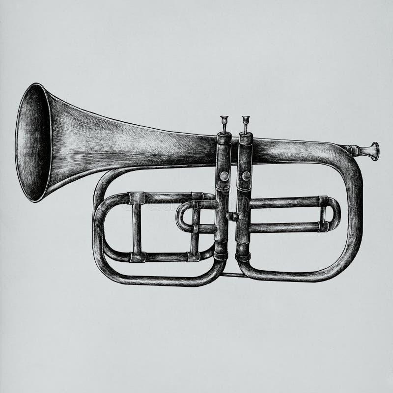 Trompeta dibujada mano aislada en fondo foto de archivo libre de regalías