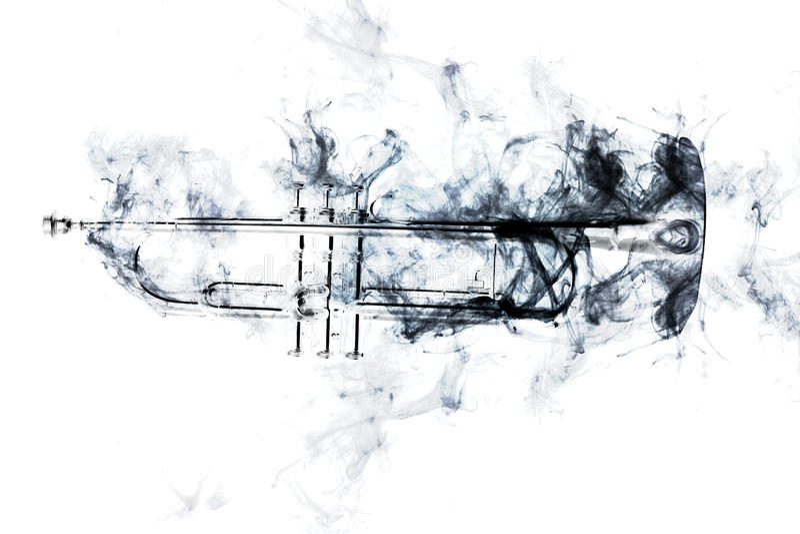Trompeta Jazz Smoke abstracta fotos de archivo