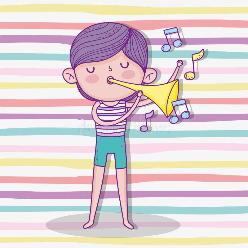 Trompeta linda del juego del muchacho con el peinado ilustración del vector