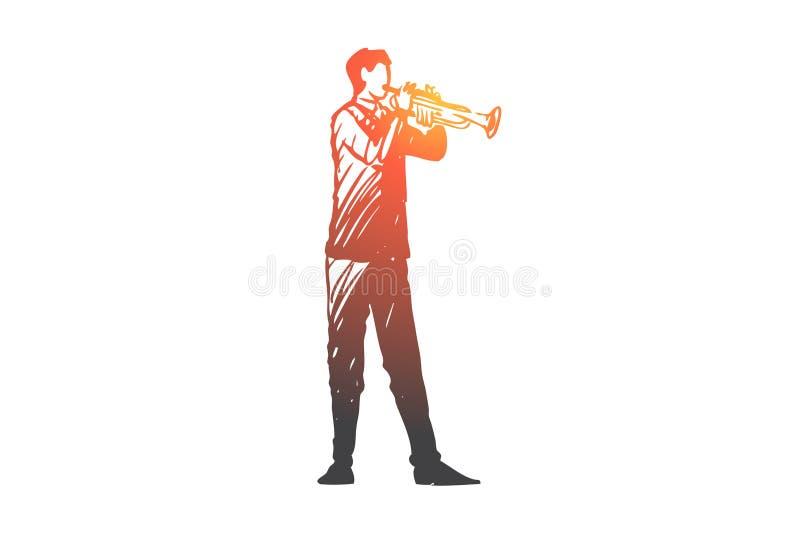 Trompeta, músico, hombre, música, concepto del concierto Vector aislado dibujado mano ilustración del vector