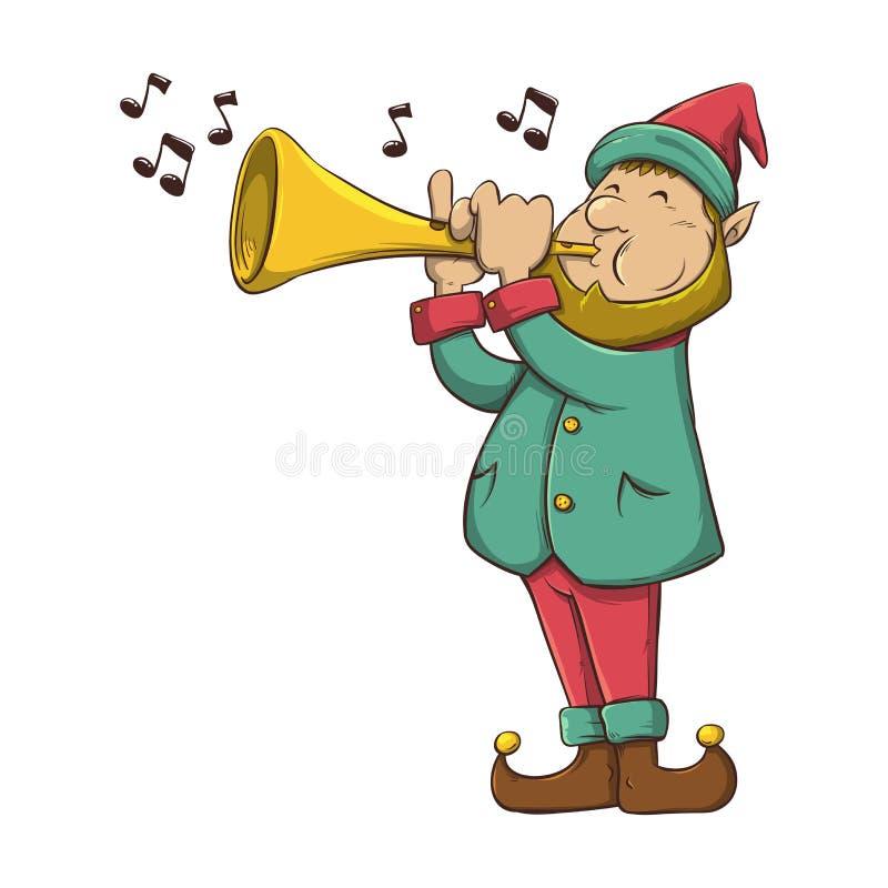 Trompeta que sopla del duende de la Navidad stock de ilustración