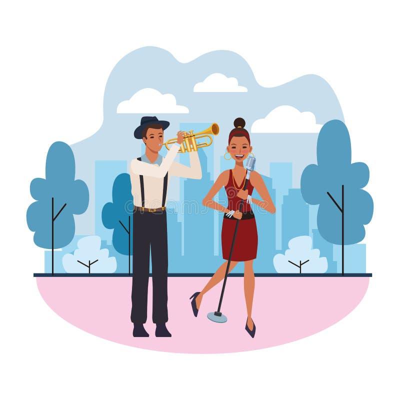 Trompete spielender und singender Musiker vektor abbildung