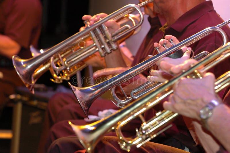 Trompeten im Konzert lizenzfreie stockbilder