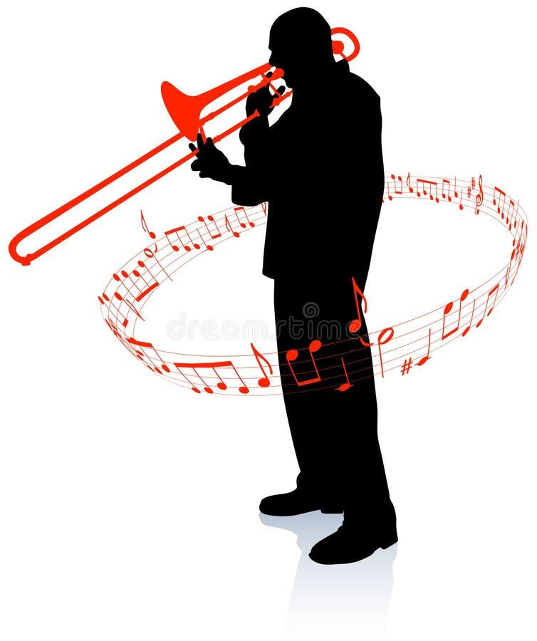 Trompeten-Musiker mit musikalischen Anmerkungen vektor abbildung
