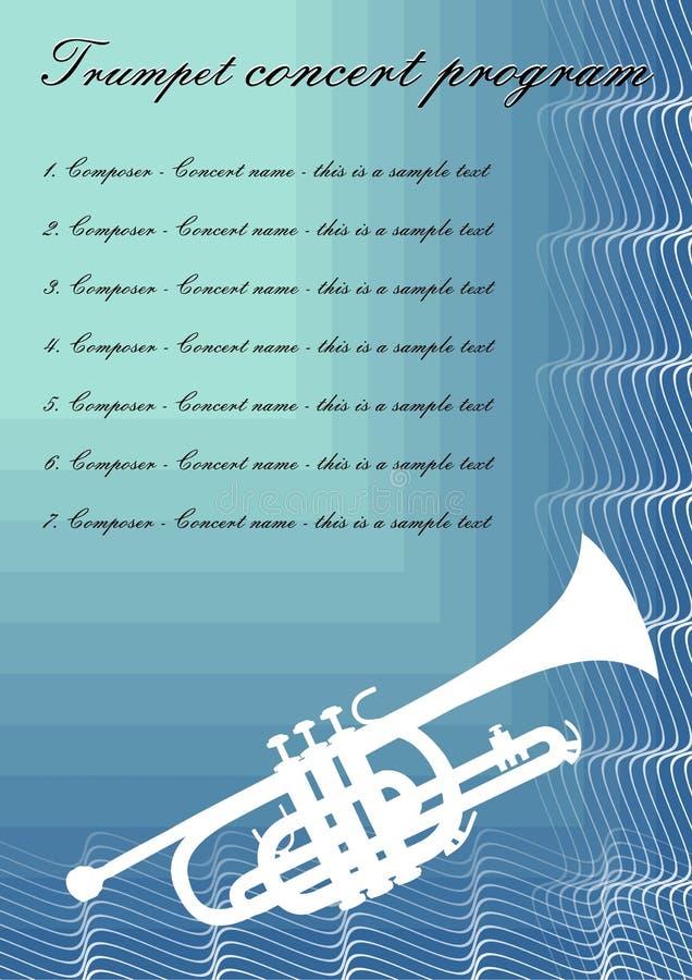 Trompetenkonzert-Programmschablone mit weißem Trompetenschattenbild, Beispieltext auf blauem abstraktem Hintergrund vektor abbildung