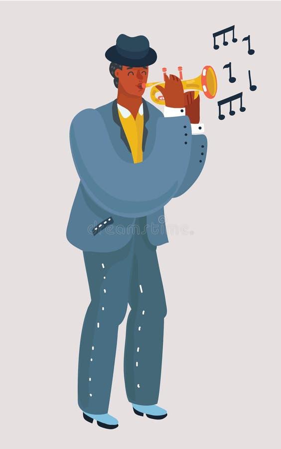Trompeter mit einer Trompete steht lizenzfreie abbildung
