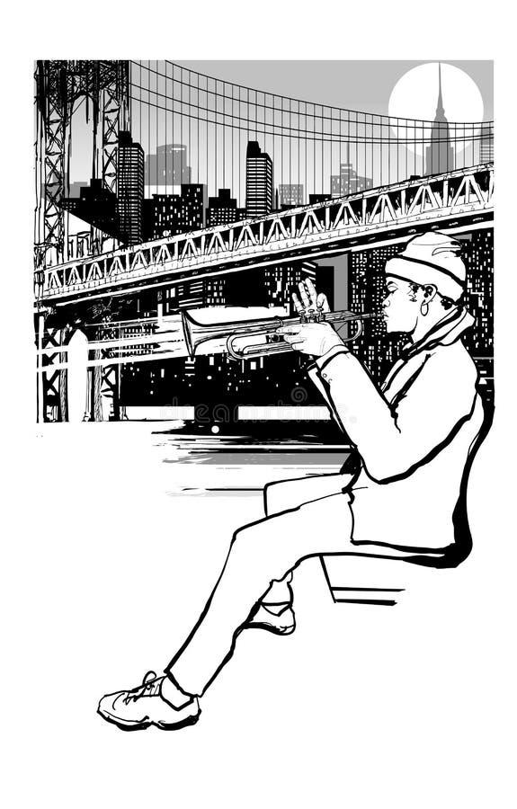 Trompeter in New York Brooklyn vektor abbildung