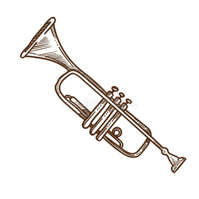 Trompethoorn of pijp geïsoleerd schets muzikaal instrument stock illustratie