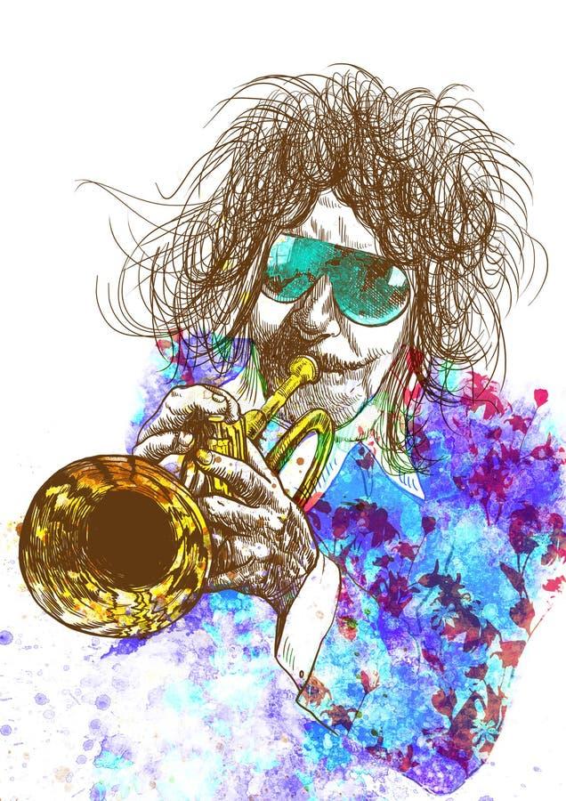 Trompetista ilustração royalty free