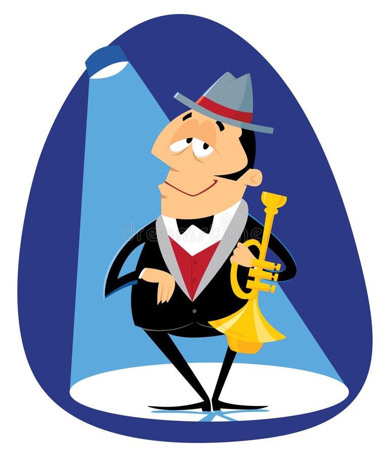 Trompetista do jazz ilustração royalty free
