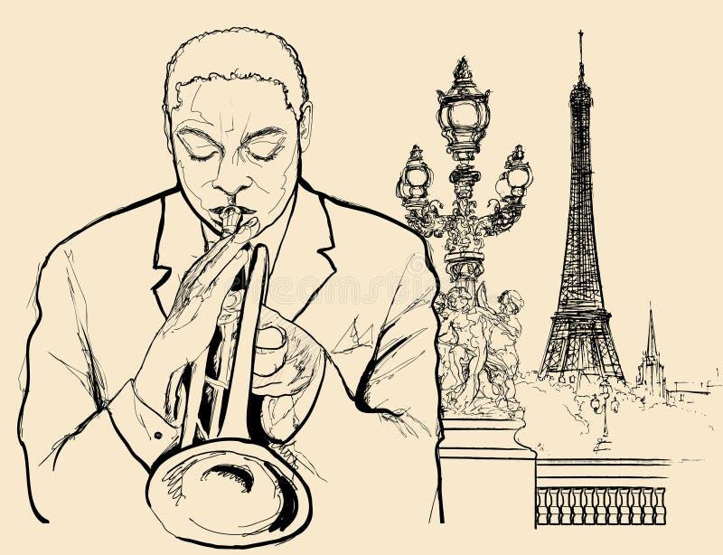 Trompetista do jazz ilustração stock