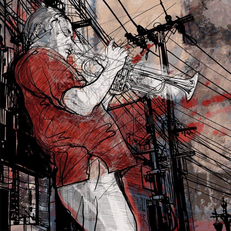 Trompetista em um fundo da arquitectura da cidade do grunge ilustração royalty free
