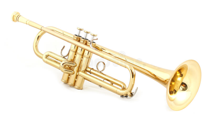 Trompette d'or photos libres de droits