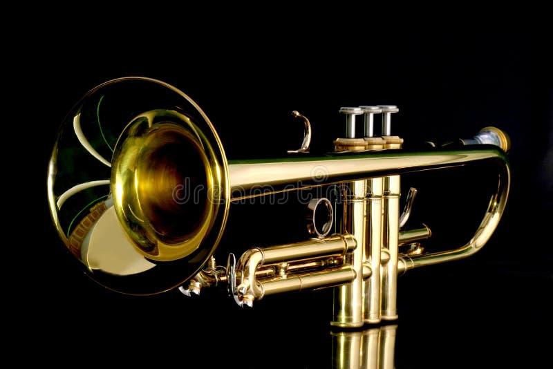 Trompette d'or dans la nuit photographie stock libre de droits