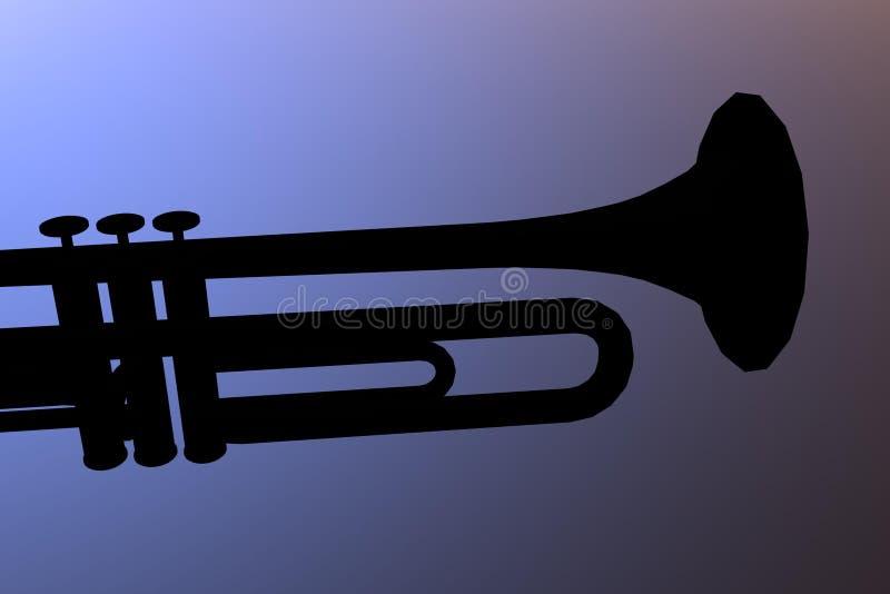 Trompette dans le bleu illustration stock