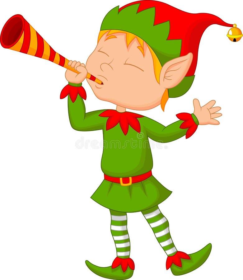 Trompette de soufflement de bande dessinée d'Elf illustration stock