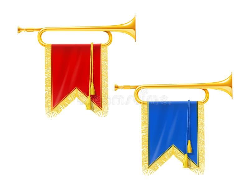 Trompette royale d'or de klaxon avec la bannière bleue et rouge Instrument de musique pour l'orchestre de roi illustration libre de droits