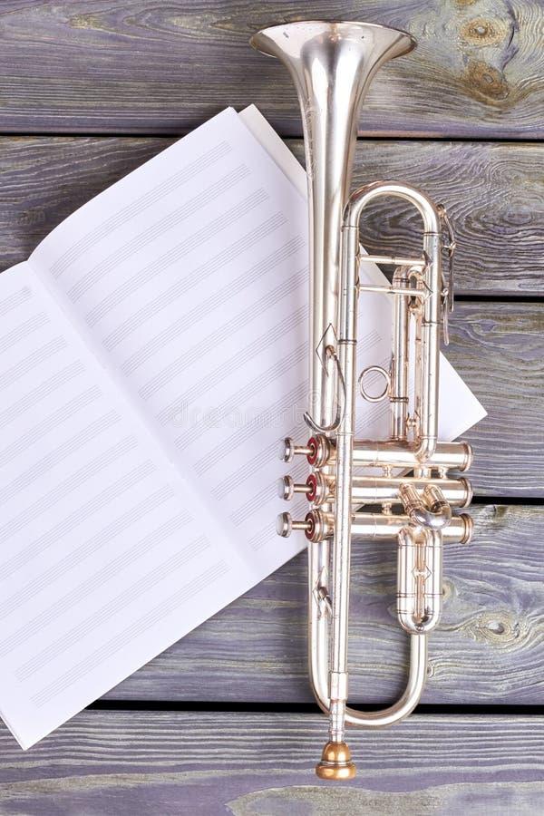 Trompette sur les notes musicales photographie stock libre de droits