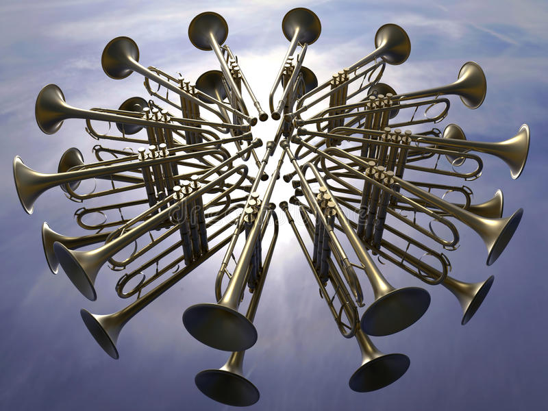 Trompetten in de hemel vector illustratie