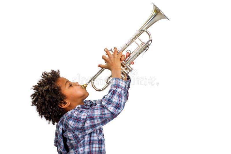 Trompetter die de blauw spelen royalty-vrije stock fotografie