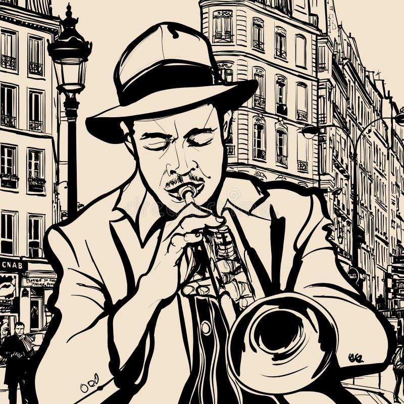 Trompetter op een cityscape achtergrond royalty-vrije illustratie