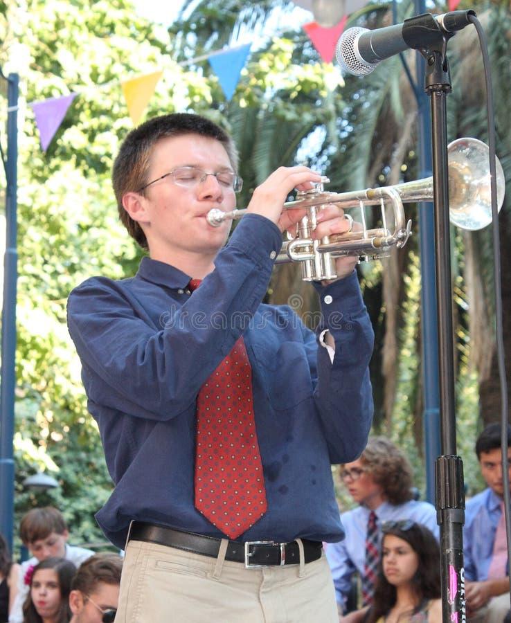 trompetter van Philadelphia Jazz Orchestra royalty-vrije stock foto's