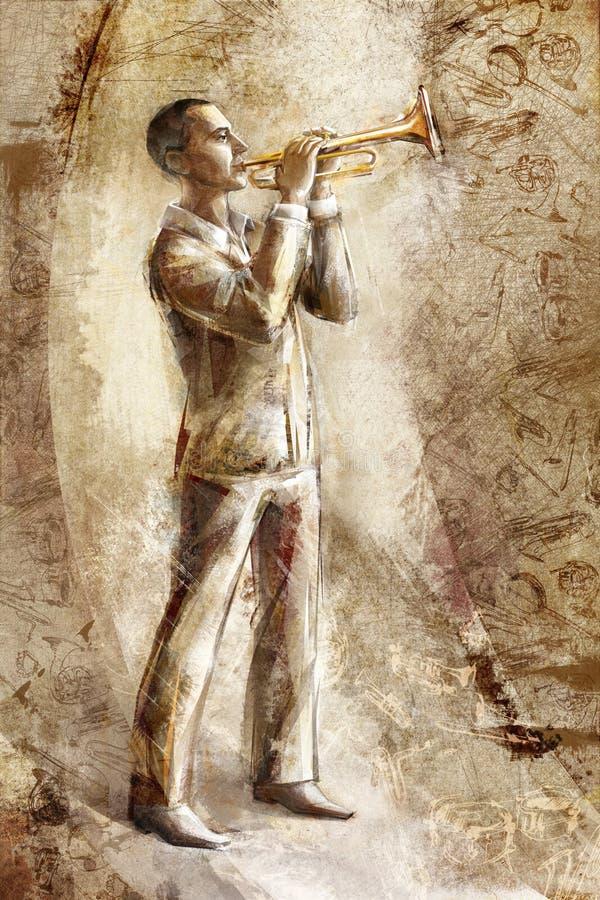 Trompettiste de musicien de jazz sur le rétro fond illustration stock