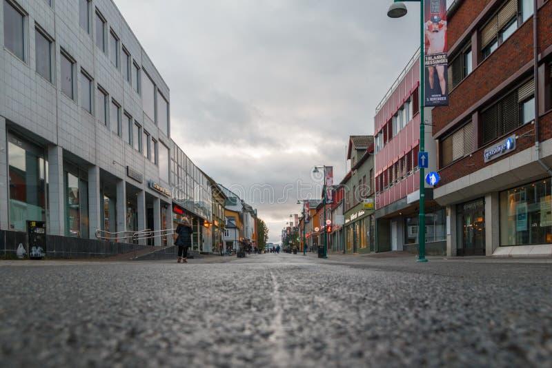 Tromse, Noruega Main Street imagem de stock