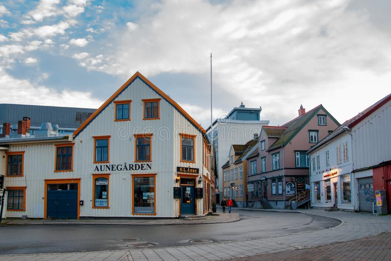 Tromse, Noruega Restaurante de Aunegarden fotografia de stock