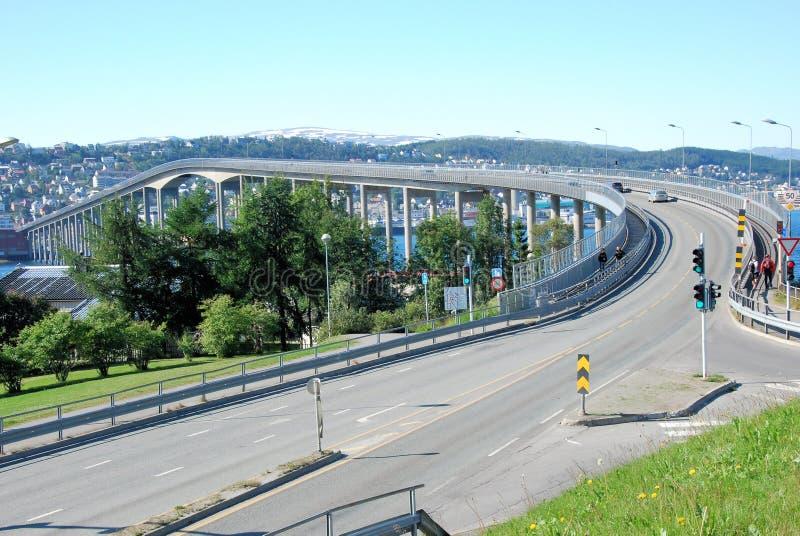 Tromso Bridge, landmarks of Tromso, impressive road bridge. Tromsø Bridge, Landmarks of Tromso, Large cantilever road bridge. It crosses Tromsøysundet stock image