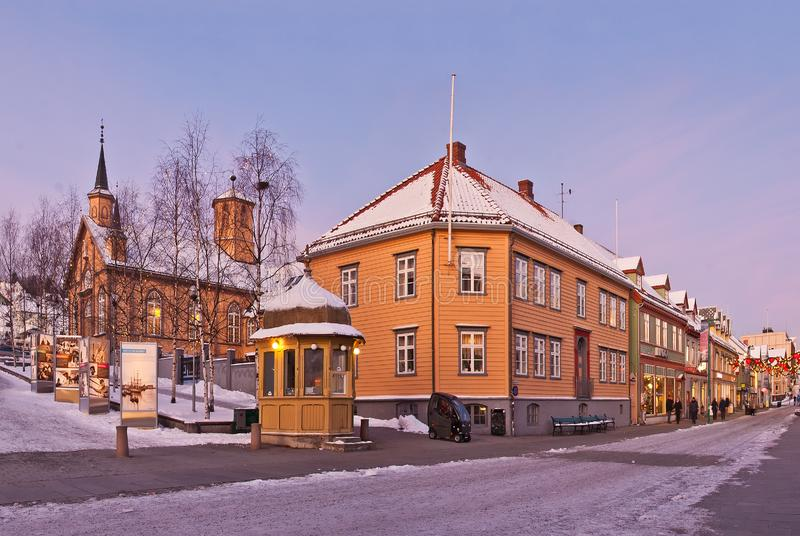 Tromso city street stock photos
