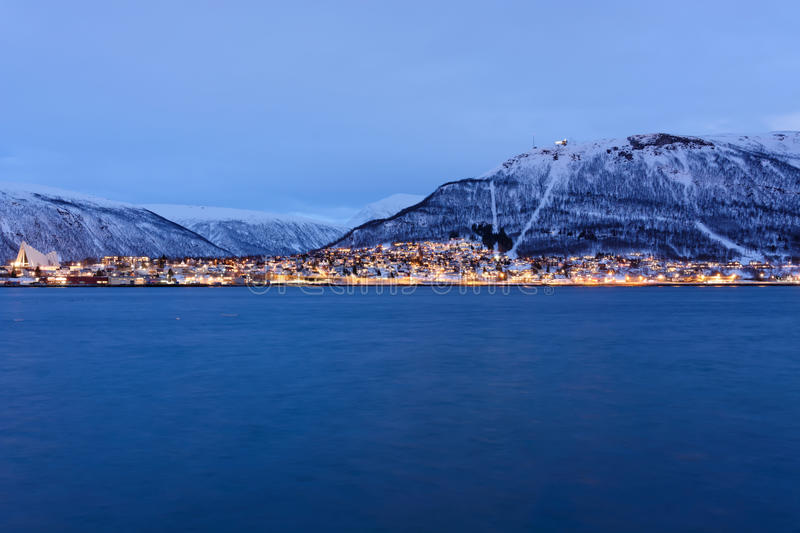 Tromso during the Polar night. Taken from across the fjord royalty free stock image
