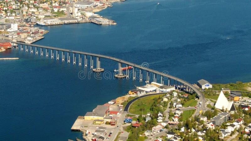 Tromso's bridge. The bridge connecting the Tromsoe's island with the mainland royalty free stock image