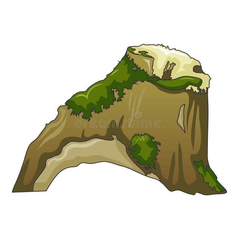 Tronçon avec l'icône d'herbe verte, style de bande dessinée illustration libre de droits