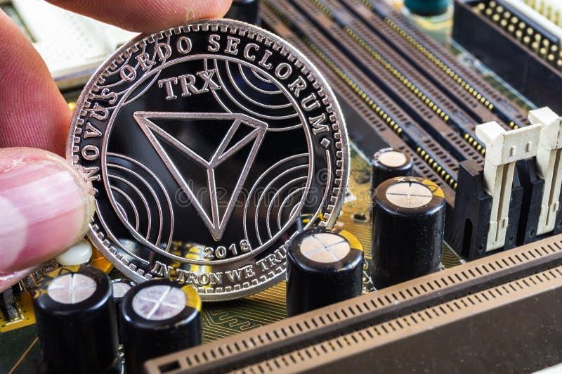 Tron é uma maneira moderna de troca e desta moeda cripto fotos de stock royalty free