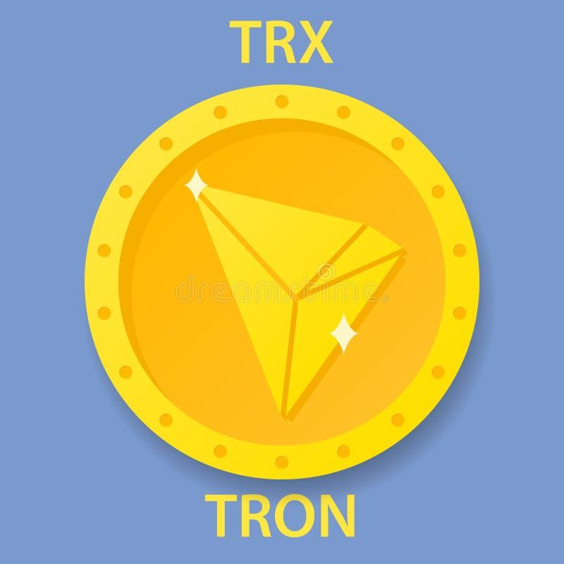 Tron cryptocurrency blockchain icon. Virtual electronic, internet money or cryptocoin symbol, logo.  royalty free illustration