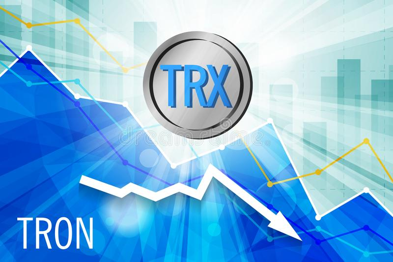 Tron cryptocurrency in the bright rays on background with statis stock illustration