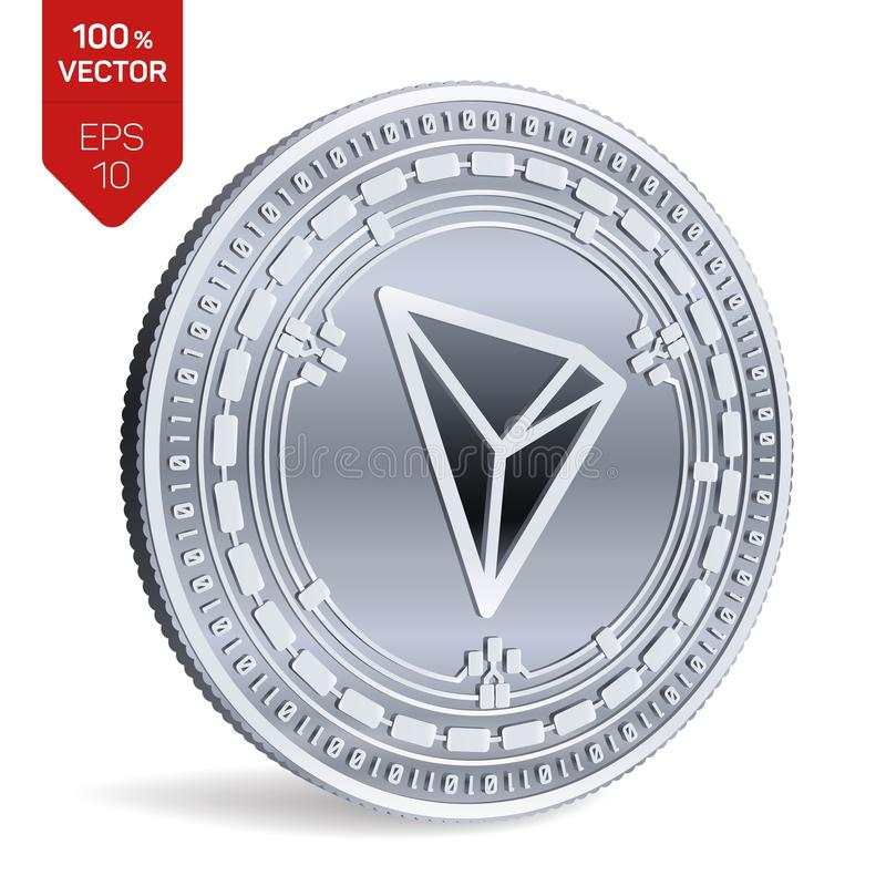 Tron. 3D isometric Physical coin. Digital currency. Cryptocurrency. Silver coin with Tron symbol isolated on white. Background. Vector illustration royalty free illustration