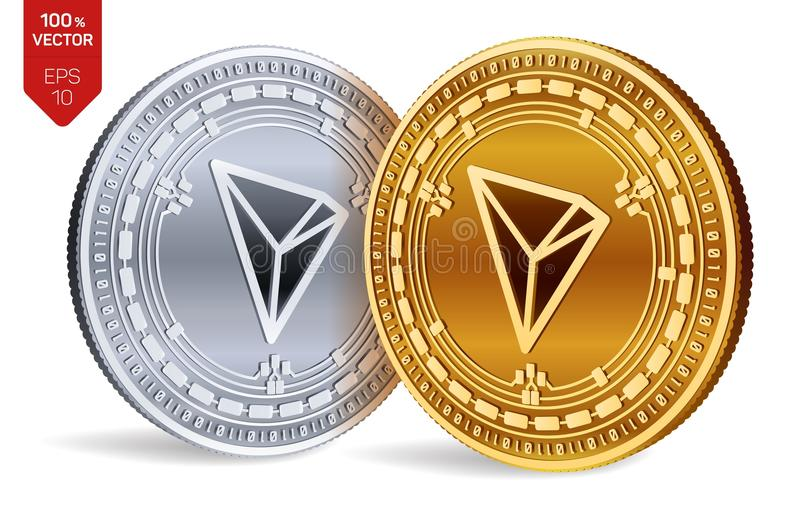 Tron. 3D isometric Physical coins. Digital currency. Cryptocurrency. Golden and silver coins with Tron symbol isolated on white ba. Ckground. Vector illustration stock illustration