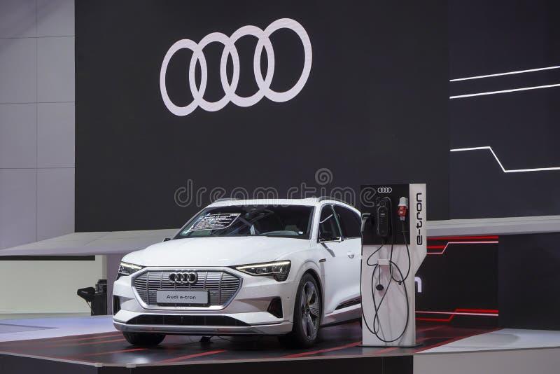 Tron GT Audi e на дисплее в мотор-шоу 2019 стоковые фото
