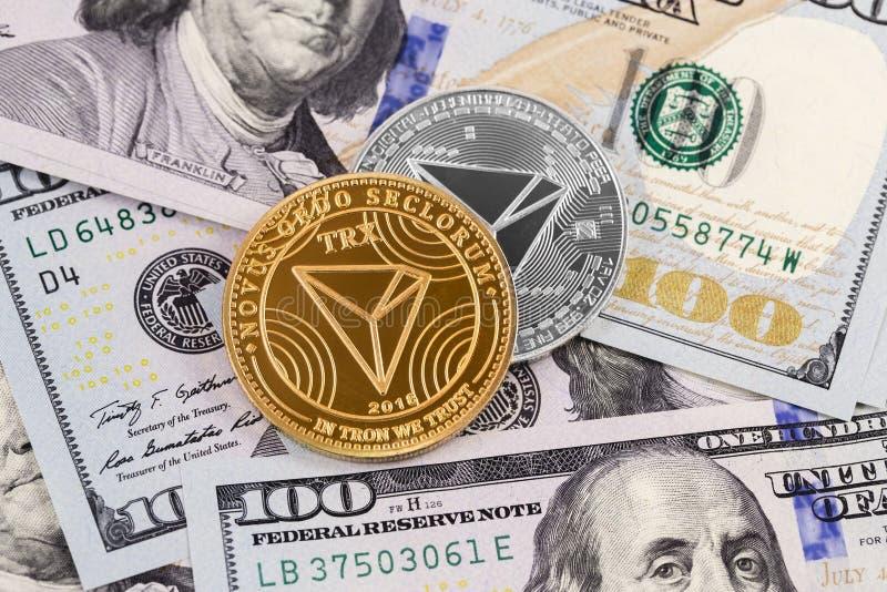 Tron inventa o cryptocurrency foto de stock