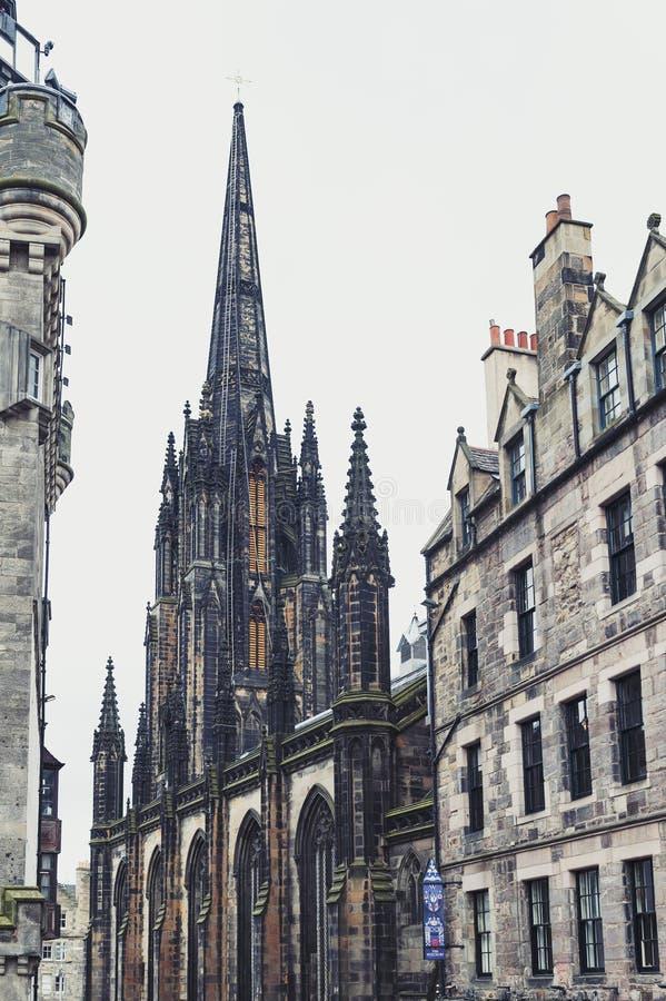 Tron Kirk, former gothic church, now functioned as The Hub, venue for various events on Royal Mile, Edinburgh, Scotland, UK. Edinburgh, Scotland - April 2018 stock photography