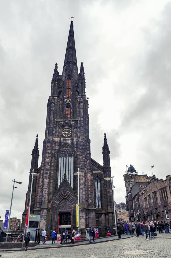 Tron Kirk, former gothic church, now functioned as The Hub, venue for various events on Royal Mile, Edinburgh, Scotland, UK. Edinburgh, Scotland - April 2018 stock photos