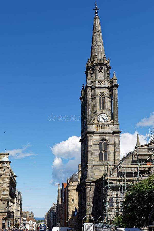 Tron-Kirk kerktoren in de Koninklijke Mijl hoofdstraat - Edinburgh, Schotland royalty-vrije stock afbeelding