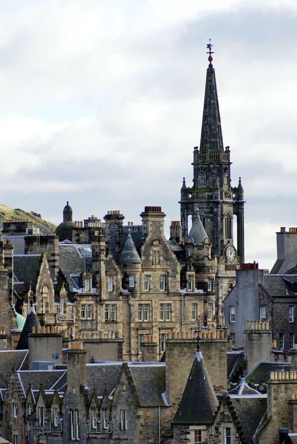 Tron Kirk Spire na cidade velha em Edimburgo fotografia de stock