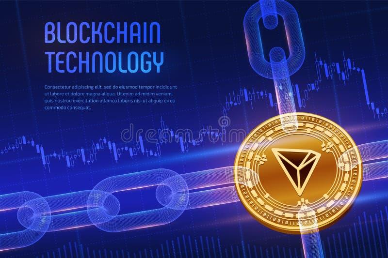 tron Moneda Crypto Cadena de bloque moneda de oro física isométrica de 3D Tron con la cadena del wireframe en fondo financiero az fotos de archivo
