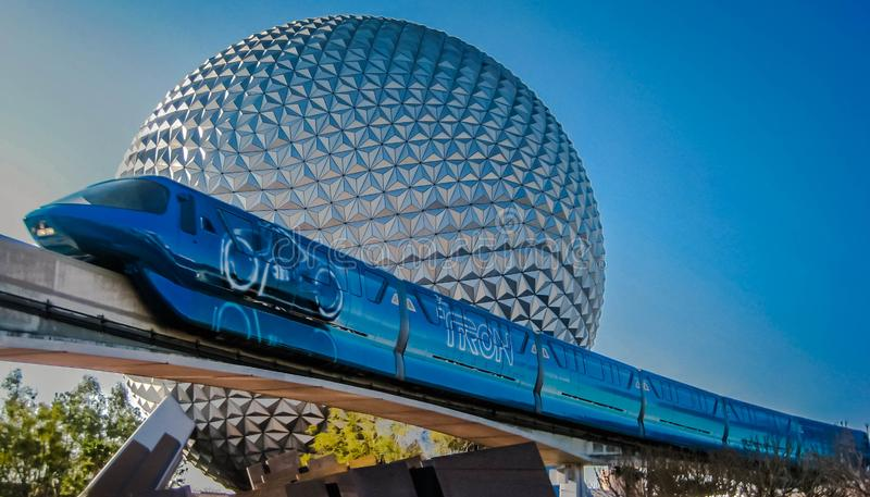 Tron Monorail in front of Epcot`s Spaceship Earth stock photography